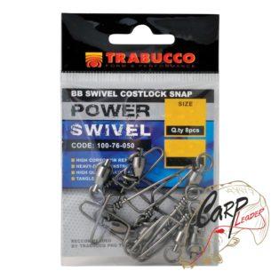 Набор вертлюгов с карабином Trabucco Ball Bearing Swiwels+C.S. №08 110 кг