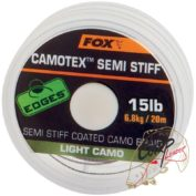 Поводковый материал в оплетке средней жесткости Fox Edges Camotex Semi Stiff — Light Camo 15lb — 20m