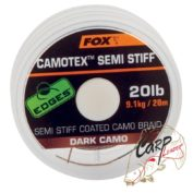Поводковый материал в оплетке средней жесткости Fox Edges Camotex Semi Stiff — Dark Camo 20lb — 20m