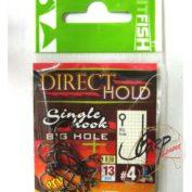 Крючок одинарный с засечками HitFish Direct Hold Single Hook 04 13 шт с большим ухом