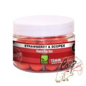 Бойлы плавающие флуор Rod Hutchinson Fluoro Pop Ups Strawberry & Scopex 15mm