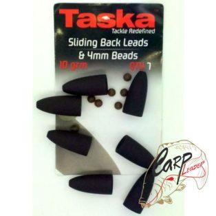 Грузило заднее Taska Sliding back Leads & 4mm Beads 10grm Brown
