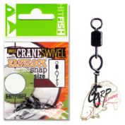 Застежка с вертлюгом HitFish Brass Crane Swivel with Easylock snap 0 15 lb/6.7 kg 7 шт