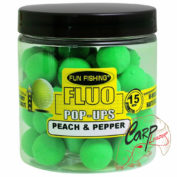 Бойлы плавающие Fun Fishing Fluo Pop Up Vert/Peach & Pepper 15mm 60pcs