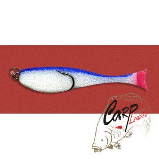 Поролоновая рыбка Контакт с двойником 8 см. бело-синяя