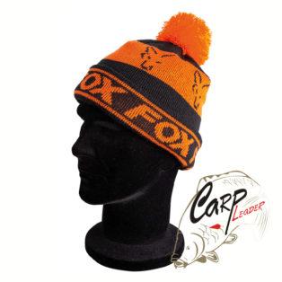 Шапка Fox Black & Orange Lined Bobble