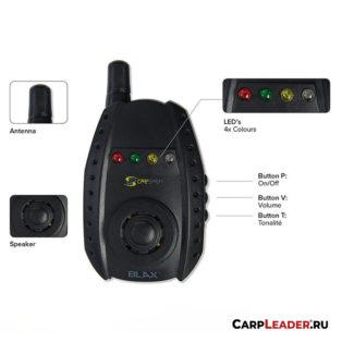 Набор электронных сигнализаторов поклёвки Carp Spirit Blax Alarm X4 + Receiver X1