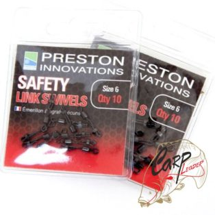 Вертлюжок с карабином Preston Innovations Preston Saferty Link Swivels Size 6